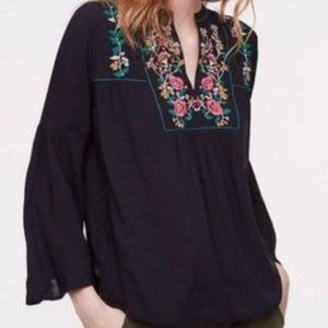 Loft Peasant Bell Sleeve Floral Embroidered Top M